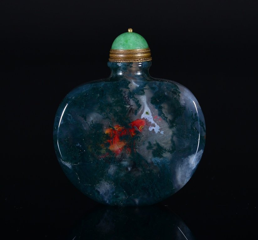 A PAINTED AGATE SNUFF BOTTLE - 2