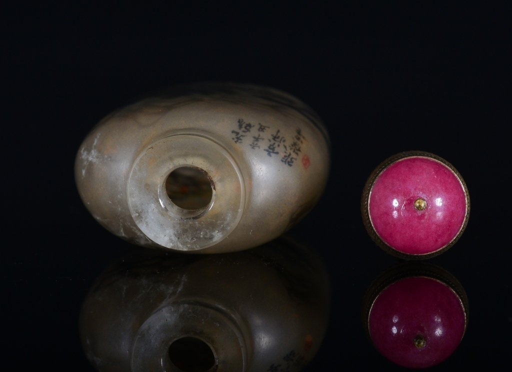A PAINTED CRYSTAL SNUFF BOTTLE - 5