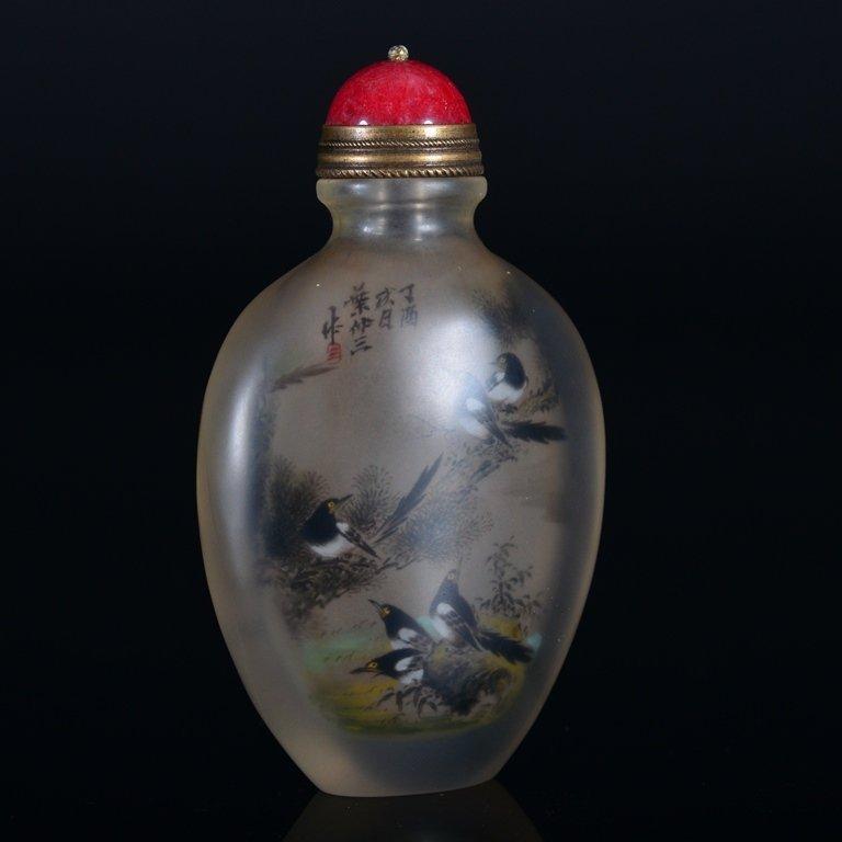 A PAINTED ENAMEL GLASS SNUFF BOTTLE - 3