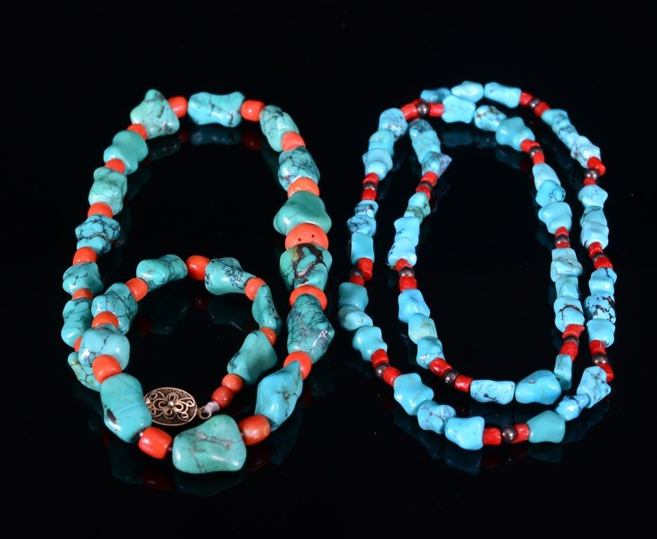 TWO OF TURQUOISE-CORAL NECKLACES