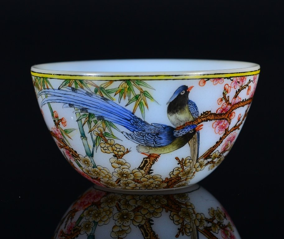 A SMALL PAINTED ENAMEL GLASS CUP