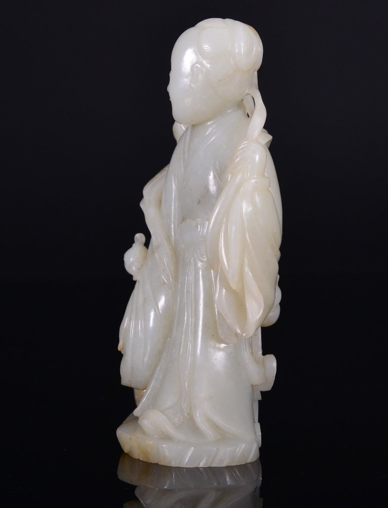 A WHITE JADE CARVING OF MAGU AND PHOENIX - 3