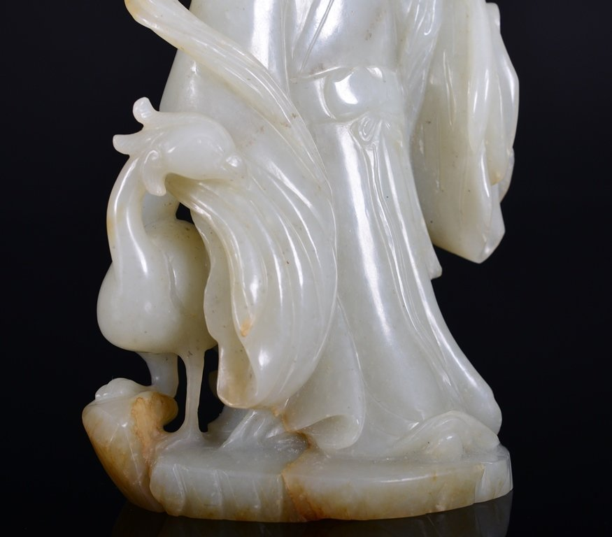A WHITE JADE CARVING OF MAGU AND PHOENIX - 7