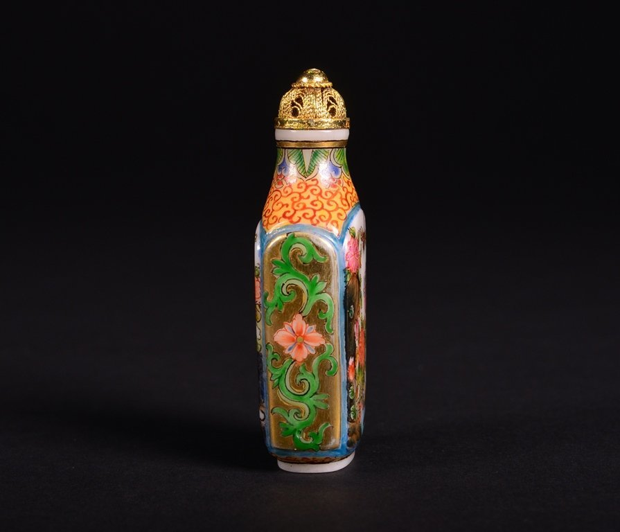 A FAMILLE-ROSE ENAMELLED GLASS SNUFF BOTTLE - 4