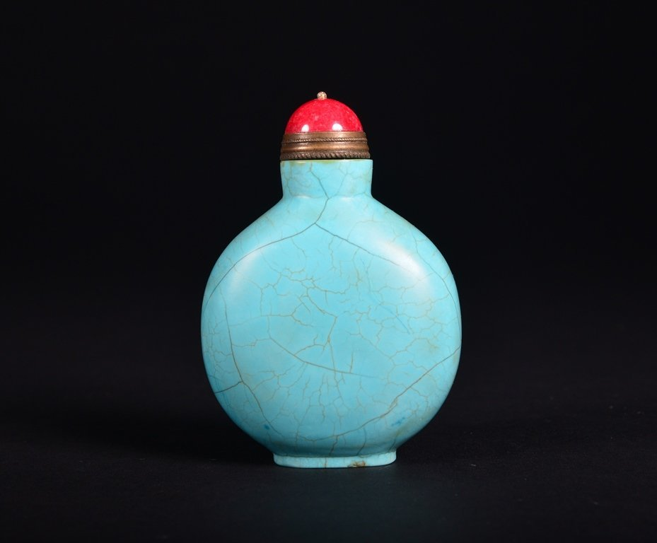 A TURQUOISE SNUFF BOTTLE