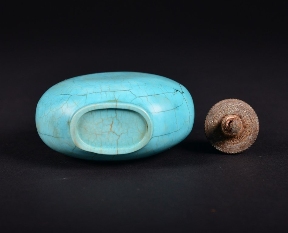 A TURQUOISE SNUFF BOTTLE - 5
