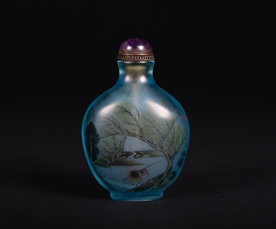 A PAINTED GLASS SNUFF BOTTLE - 2