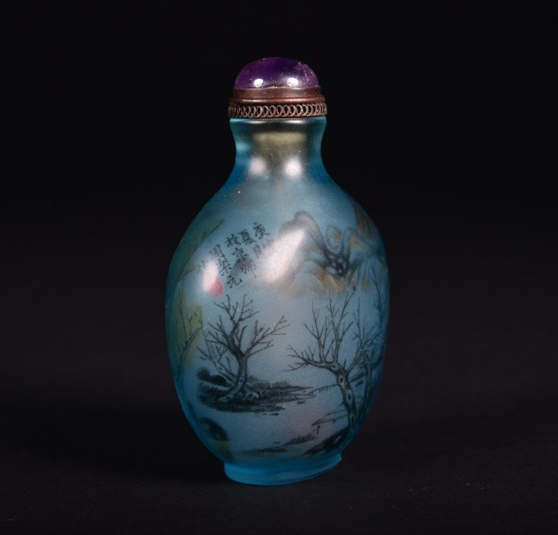 A PAINTED GLASS SNUFF BOTTLE - 3