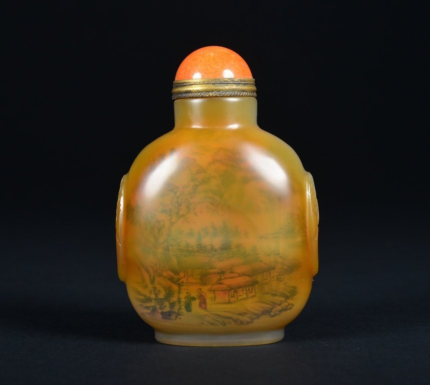 A INSIDE PAINTED AGATE SNUFF BOTTLE - 2