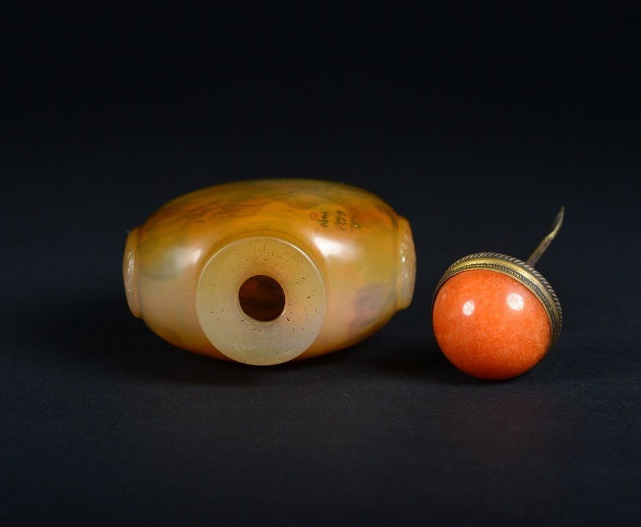 A INSIDE PAINTED AGATE SNUFF BOTTLE - 5