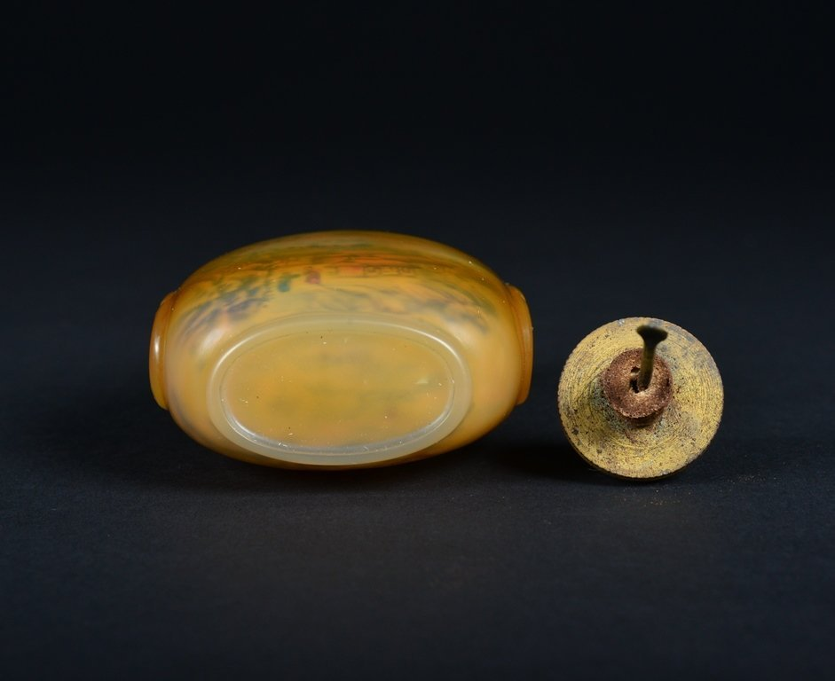 A INSIDE PAINTED AGATE SNUFF BOTTLE - 6