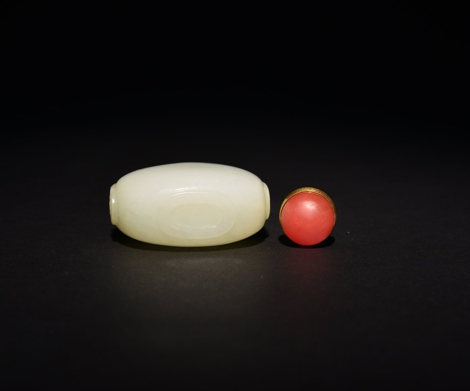 A WHITE JADE SNUFF BOTTLE - 6