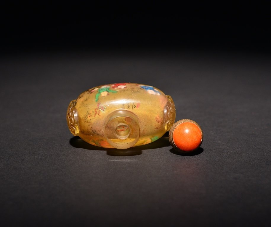 A INSIDE-PAINTED GLASS SNUFF BOTTLE - 4