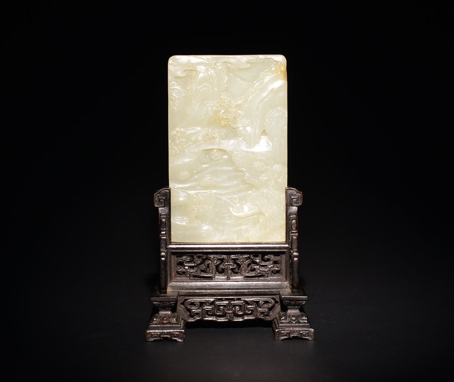 A CARVED WHITE JADE SCREEN - 2