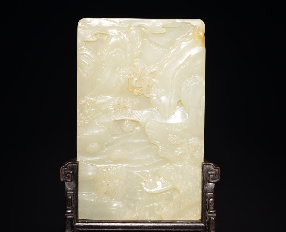 A CARVED WHITE JADE SCREEN - 4