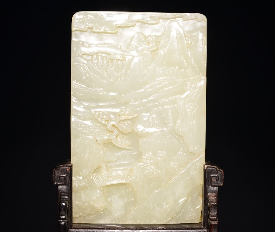 A CARVED WHITE JADE SCREEN - 5