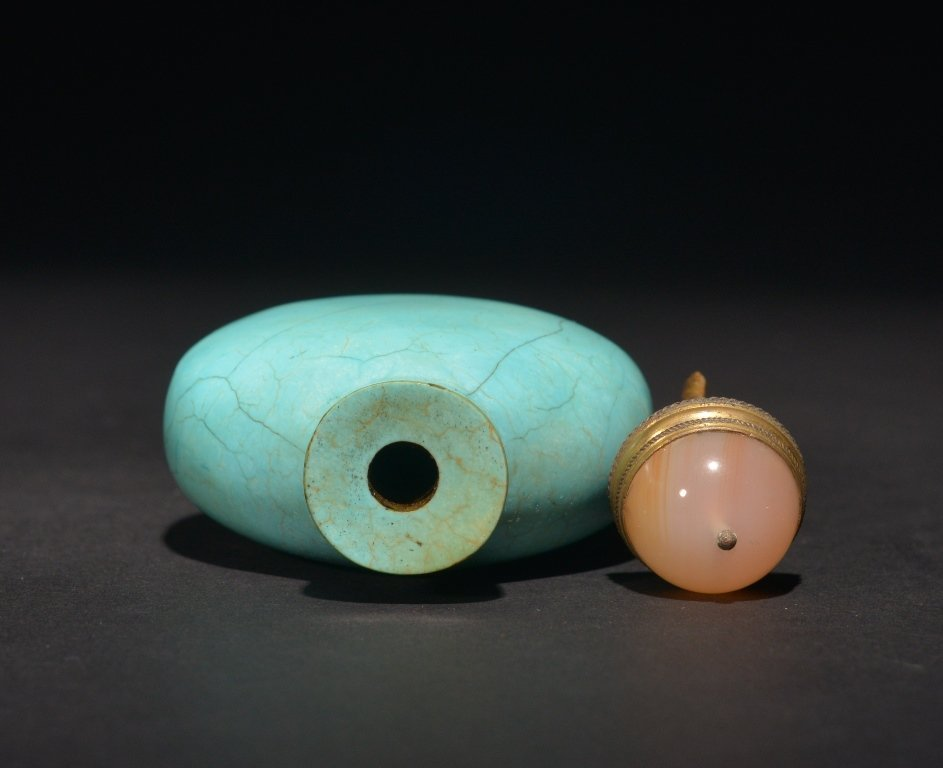 A TURQUOISE SNUFF BOTTLE - 3