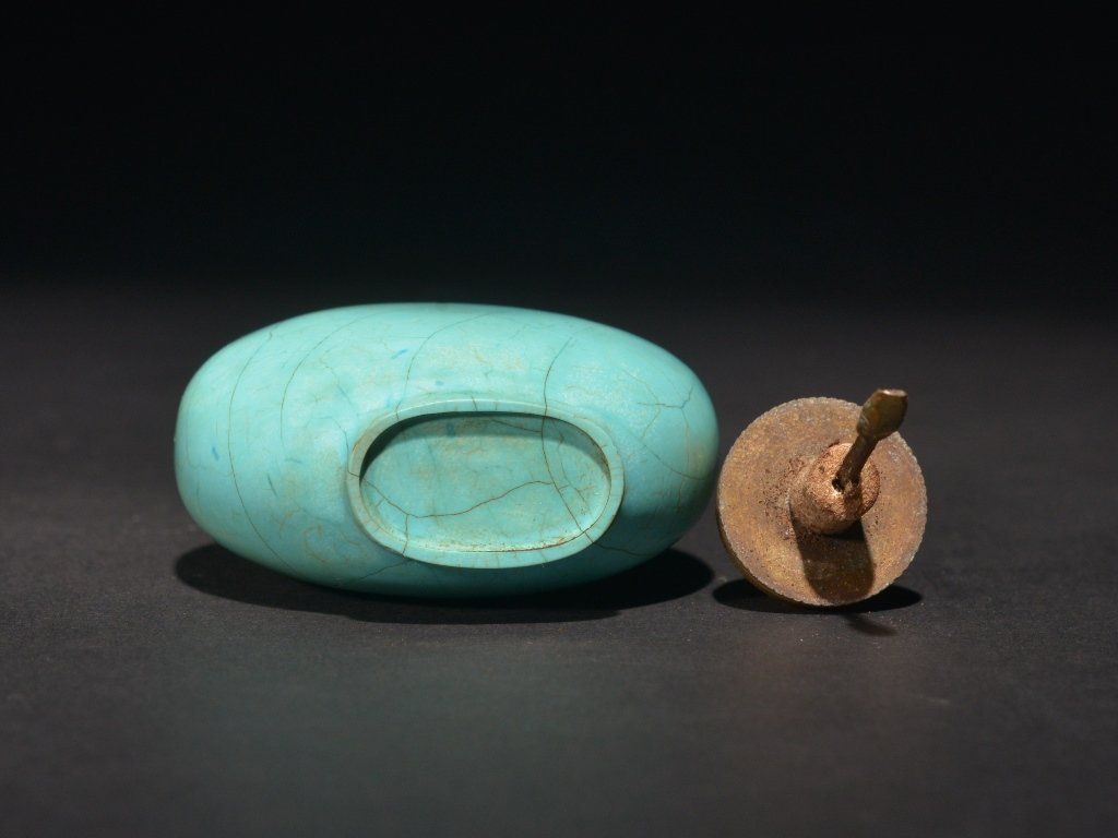 A TURQUOISE SNUFF BOTTLE - 4
