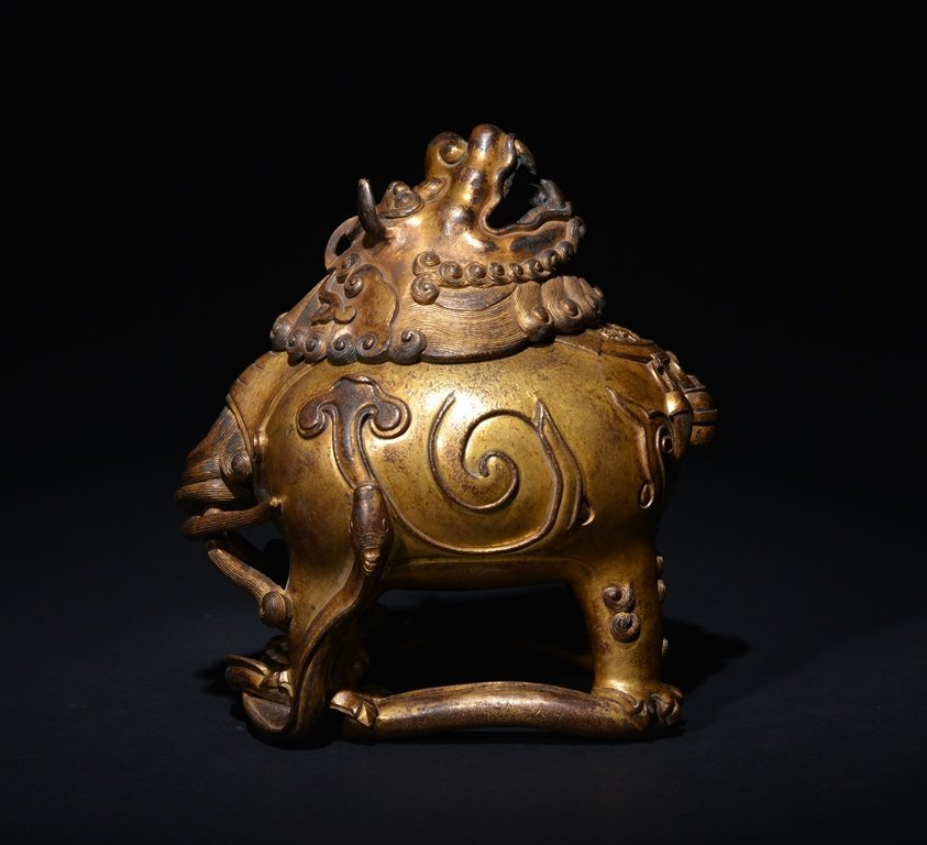A GILT -BRONZE INCENSE BURNER - 3