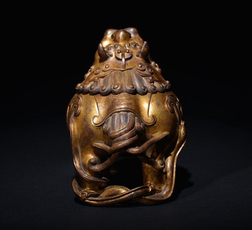 A GILT -BRONZE INCENSE BURNER - 4