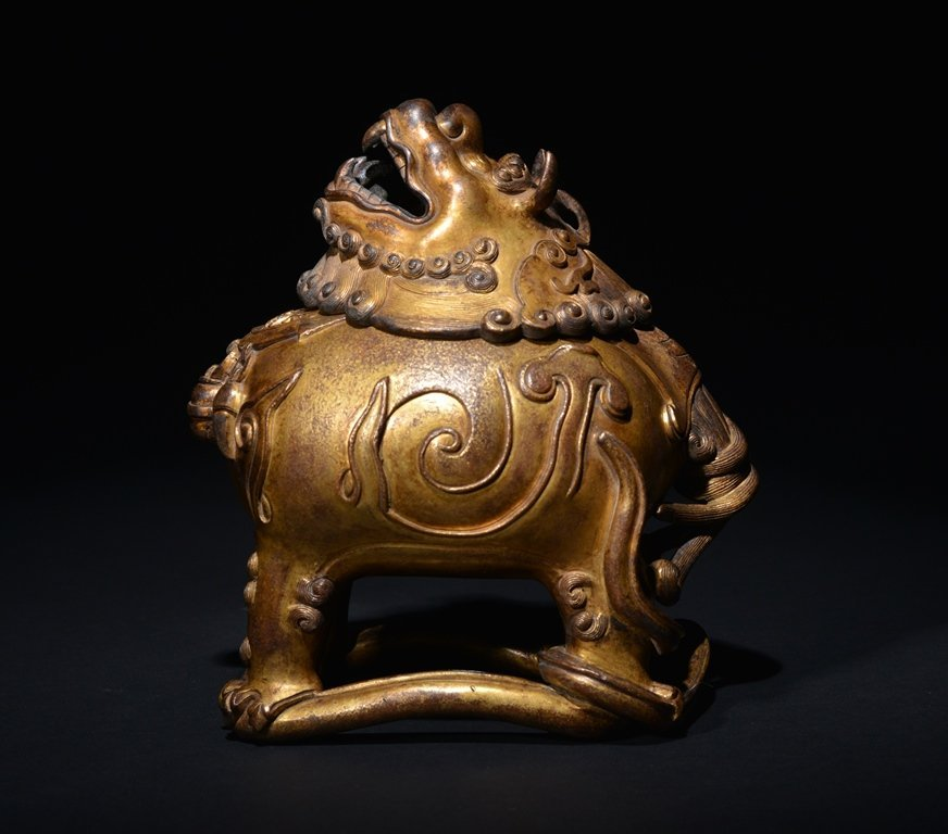 A GILT -BRONZE INCENSE BURNER - 5