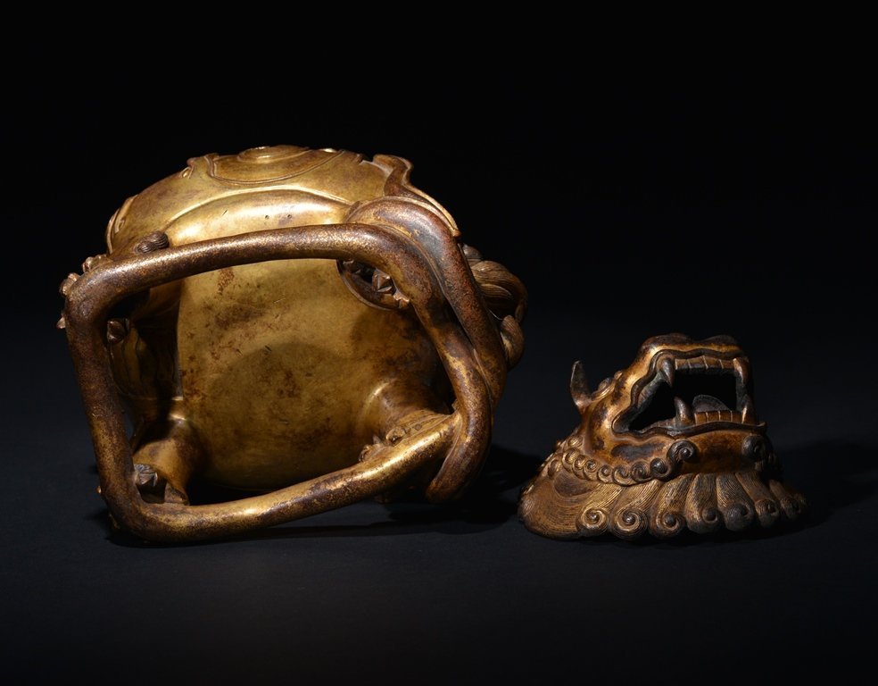 A GILT -BRONZE INCENSE BURNER - 6