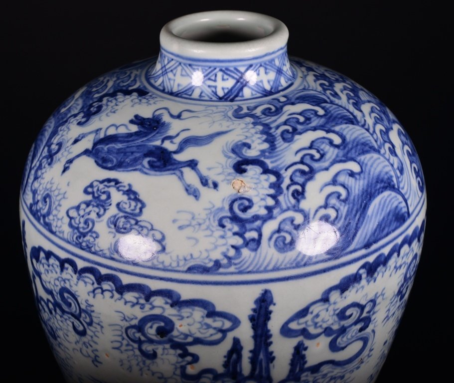 A BLUE AND WHITE MEIPING - 7