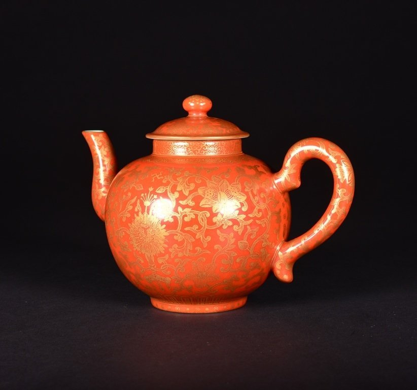 A CORAL-GROUND GILT-INLAID TEAPOT AND COVER - 2