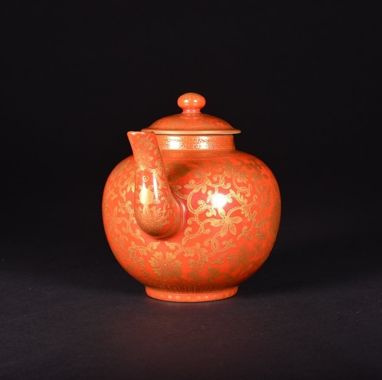 A CORAL-GROUND GILT-INLAID TEAPOT AND COVER - 3
