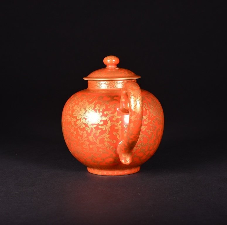 A CORAL-GROUND GILT-INLAID TEAPOT AND COVER - 4