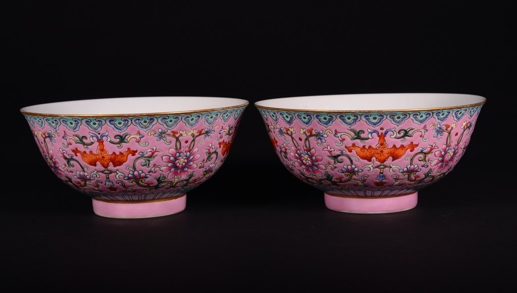 A RUBY-BACK-GROUND FAMILLE-ROSE BOWLS
