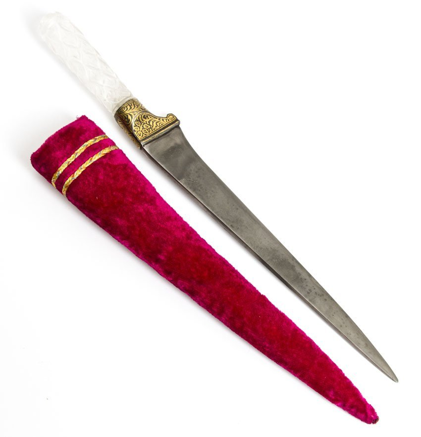 INDIAN DAGGER WITH CRYSTAL HILT AS TIGER HEAD - 2