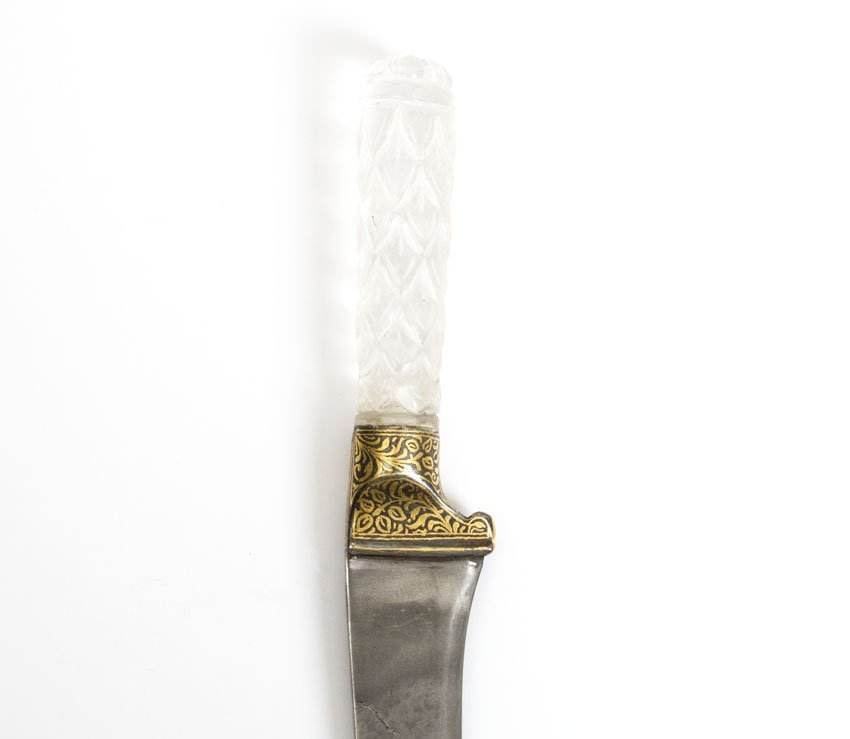 INDIAN DAGGER WITH CRYSTAL HILT AS TIGER HEAD - 7
