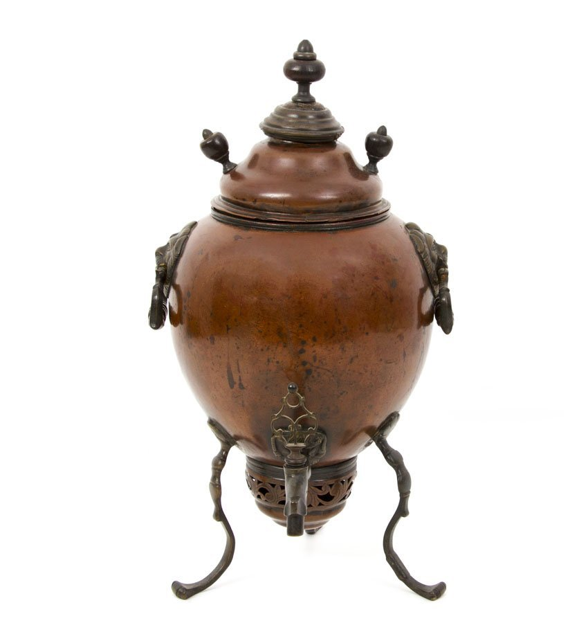 VERY EARLY RUSSIAN COPPER SAMOVAR BY DEMIDOV MFG.