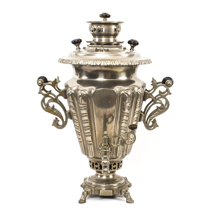LARGE RUSSIAN BRASS NICKEL PLATED SAMOVAR BY SHEMARINY