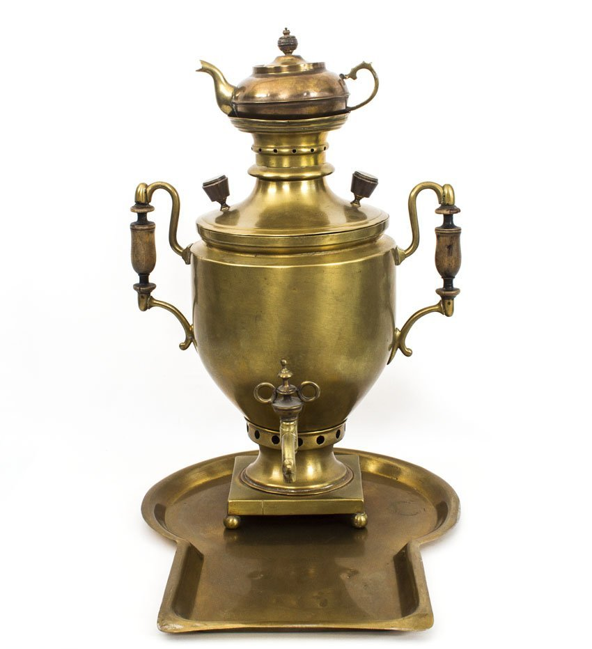 LARGE RUSSIAN BRASS SAMOVAR WITH TEA KETTLE