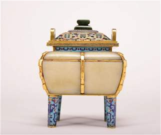 A WHITE JADE INLAID BRONZE CLOISONNE ENAMEL CENSER AND