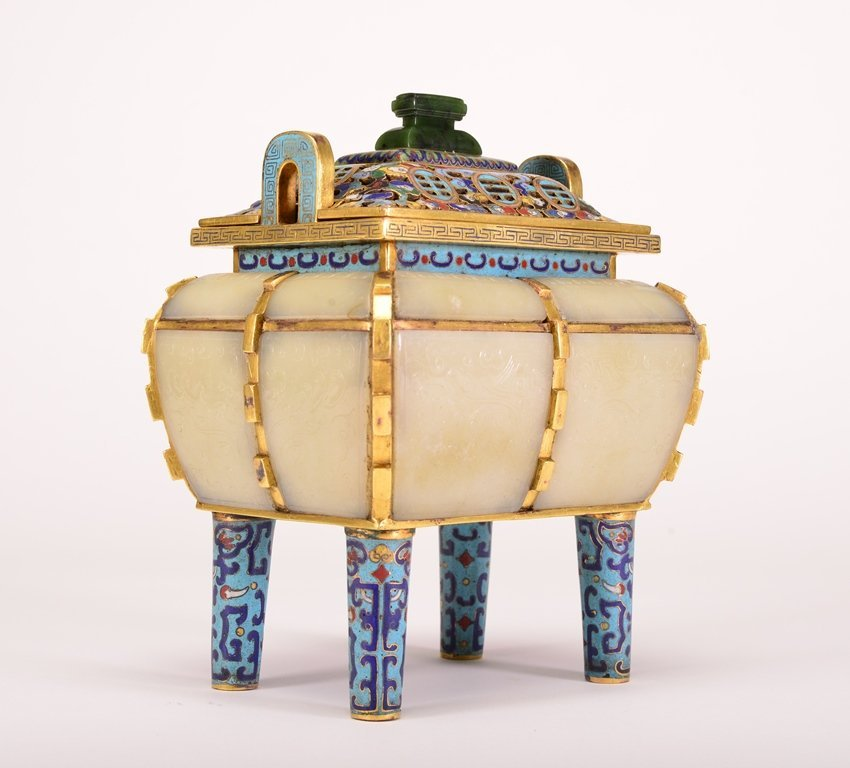 A WHITE JADE INLAID BRONZE CLOISONNE ENAMEL CENSER AND - 2