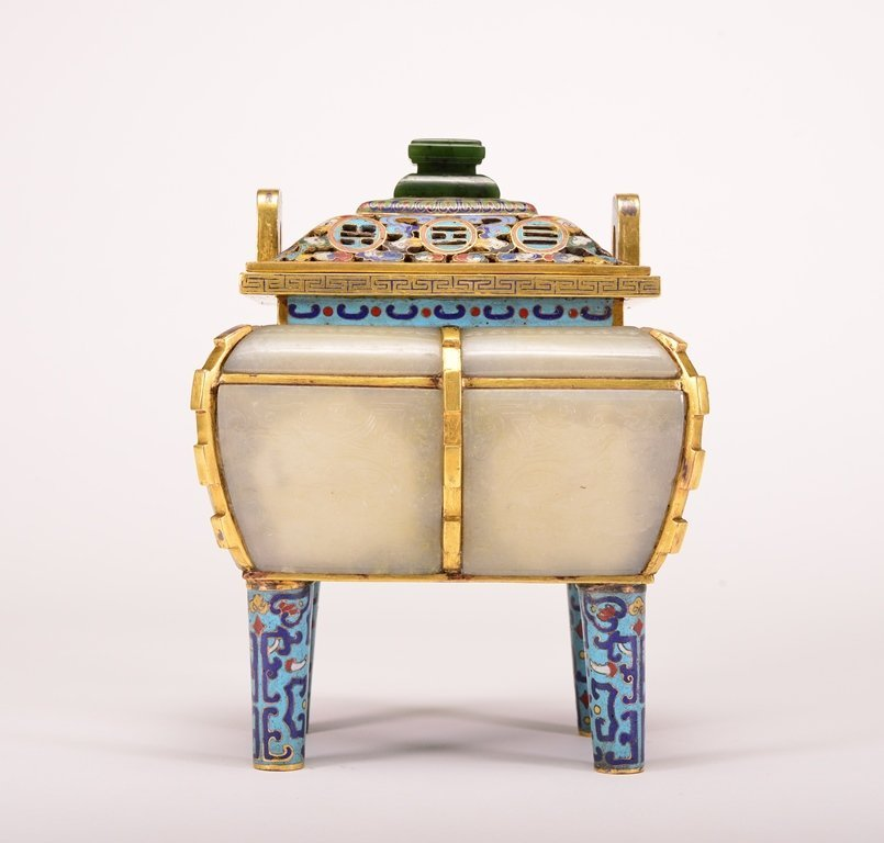 A WHITE JADE INLAID BRONZE CLOISONNE ENAMEL CENSER AND - 3