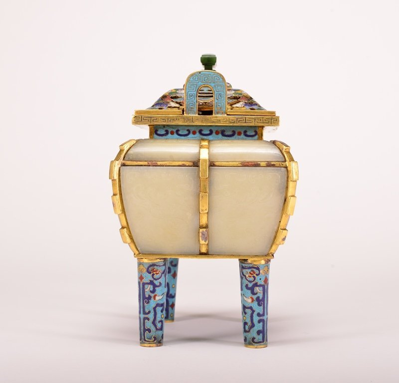 A WHITE JADE INLAID BRONZE CLOISONNE ENAMEL CENSER AND - 4