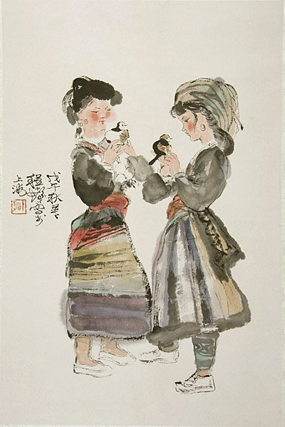 3: Chinese ink painting by Cheng Shifa, young girls, ha
