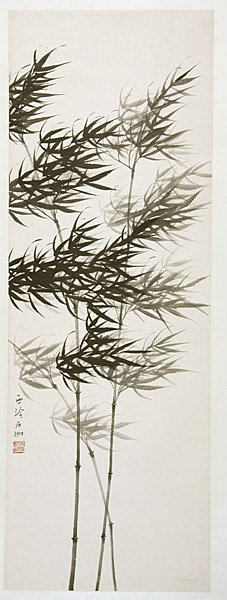 8: Chinese ink painting by Shen Shijia, bamboo, hanging