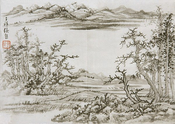 13: Chinese ink painting by Zhang Zixiang, landscape, m