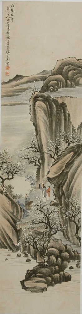 23: Chinese ink painting by Qian Yihai, spring landscap