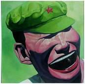 581: YUE MINJUN, Smile, oil on canvas (framed), modern