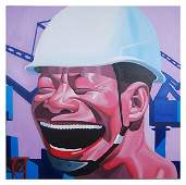 592: YUE MINJUN, Worker's Smile, oil on canvas (framele
