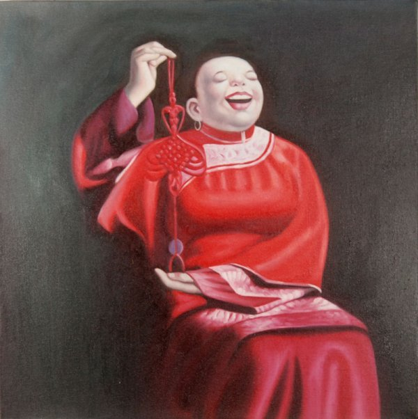 19: Anonymous, Somking woman holding a Chinese knot