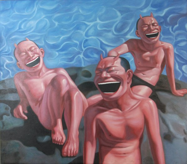 23: Anonymous, Smiling men by the water pool
