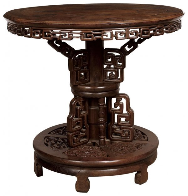 1: Chinese rosewood round table with rectangular spiral