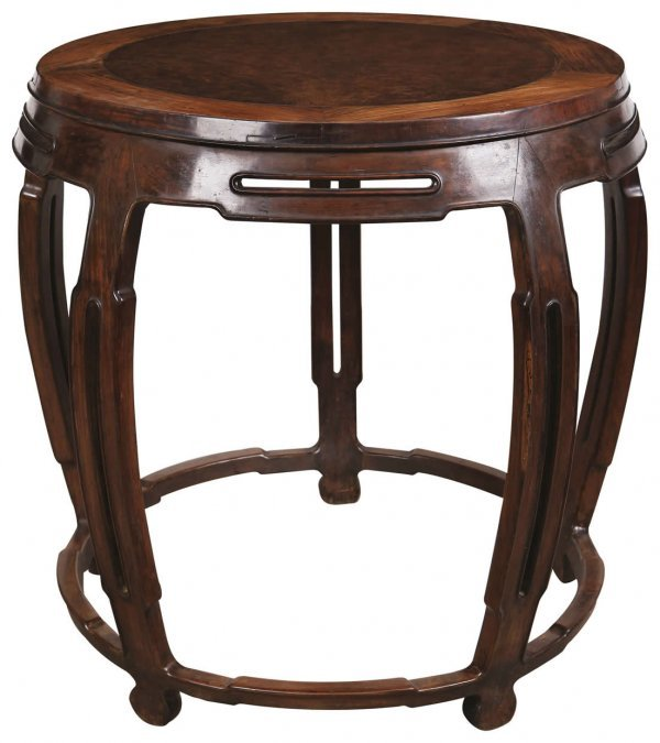 2: Chinese rosewood drum shaped table inlaid with burl